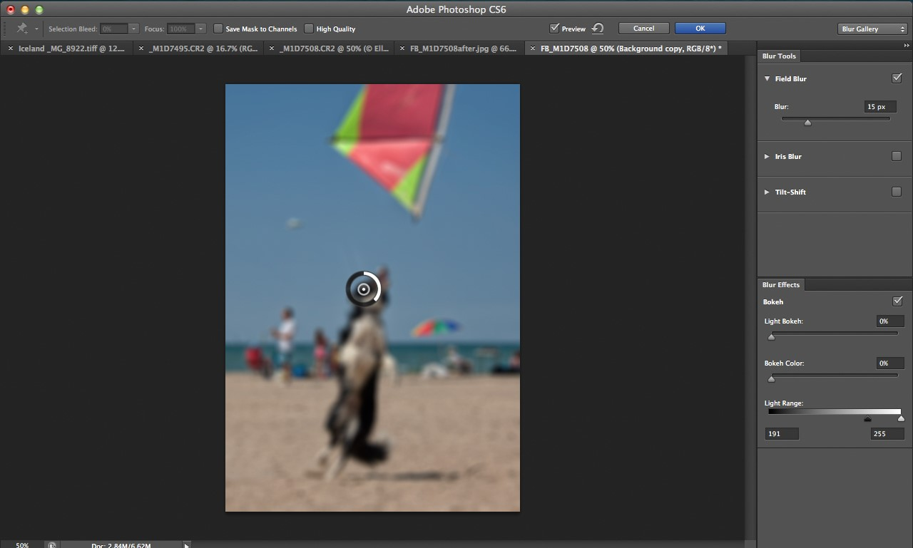 Photoshop cs6 blur gallery tutorial digital photography review field blur opens with a pin placed in the center of the image surrounded by an adjustment ring that applies a blur to the entire image baditri Choice Image