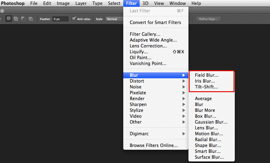 Photoshop cs6 blur gallery tutorial digital photography review you can find the new blur tools by going to filterblur selecting one of the top three options highlighted in red will open the new blur gallery ccuart Choice Image