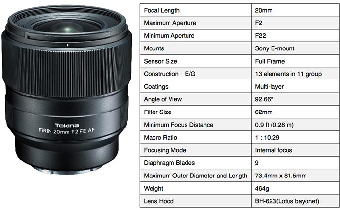 Tokina unveils the FíRIN 20mm F2.0 FE AF autofocus lens for Sony E ...