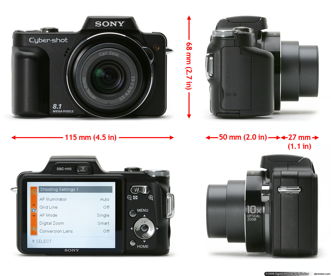sony cyber shot dsc h10 concise review digital photography review rh dpreview com DSC-H10 Accessories Dsc- W35