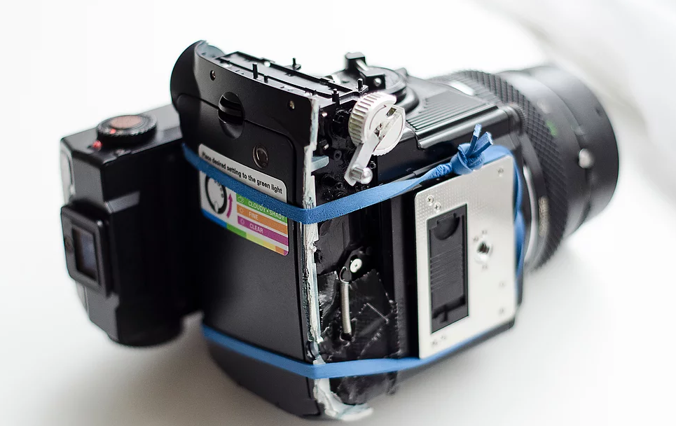 How to hack a Bronica ETRS to shoot Fuji Instax Mini film