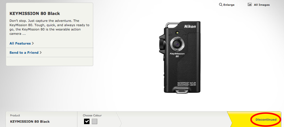 Nikon KeyMission action cameras listed as discontinued on