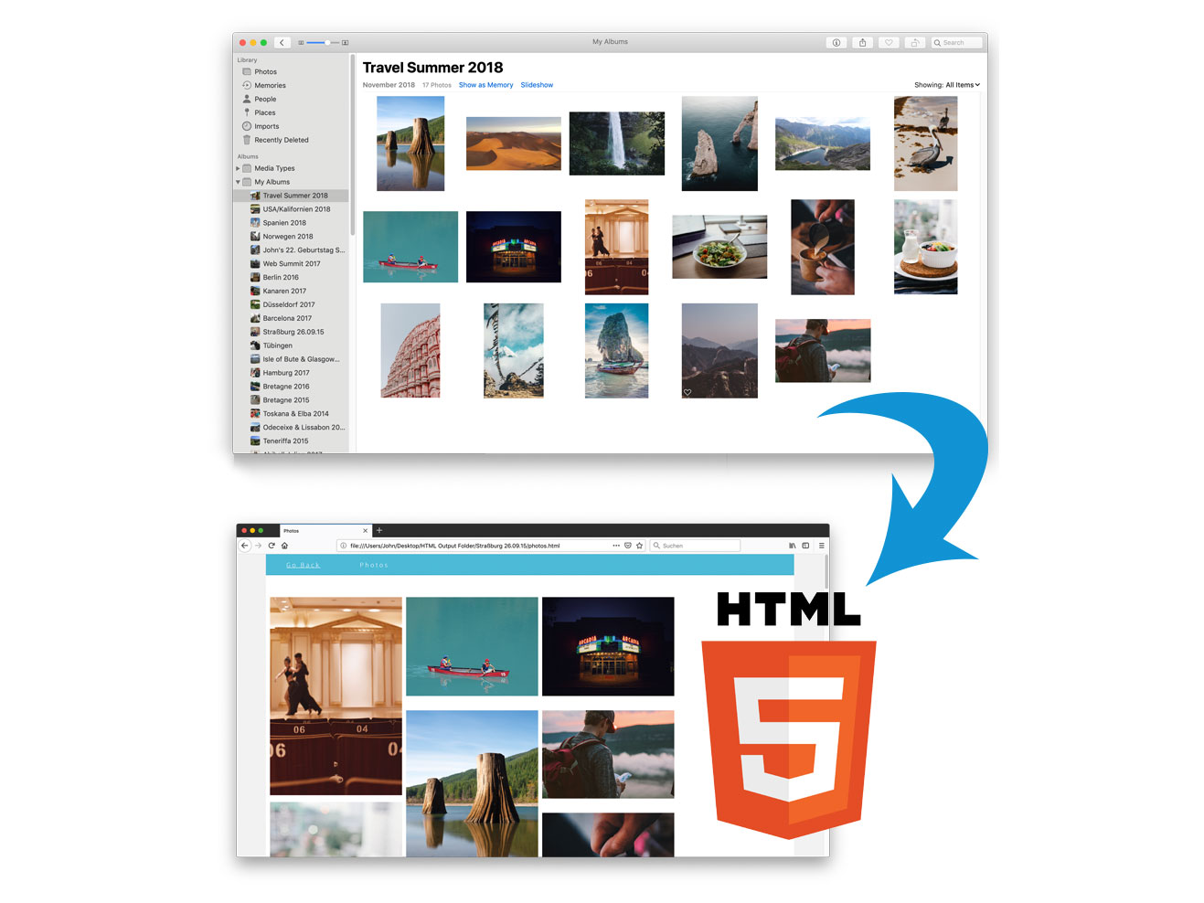 This macOS app creates HTML galleries from your Photos