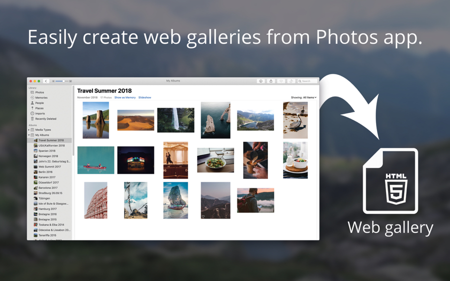 This macOS app creates HTML galleries from your Photos library