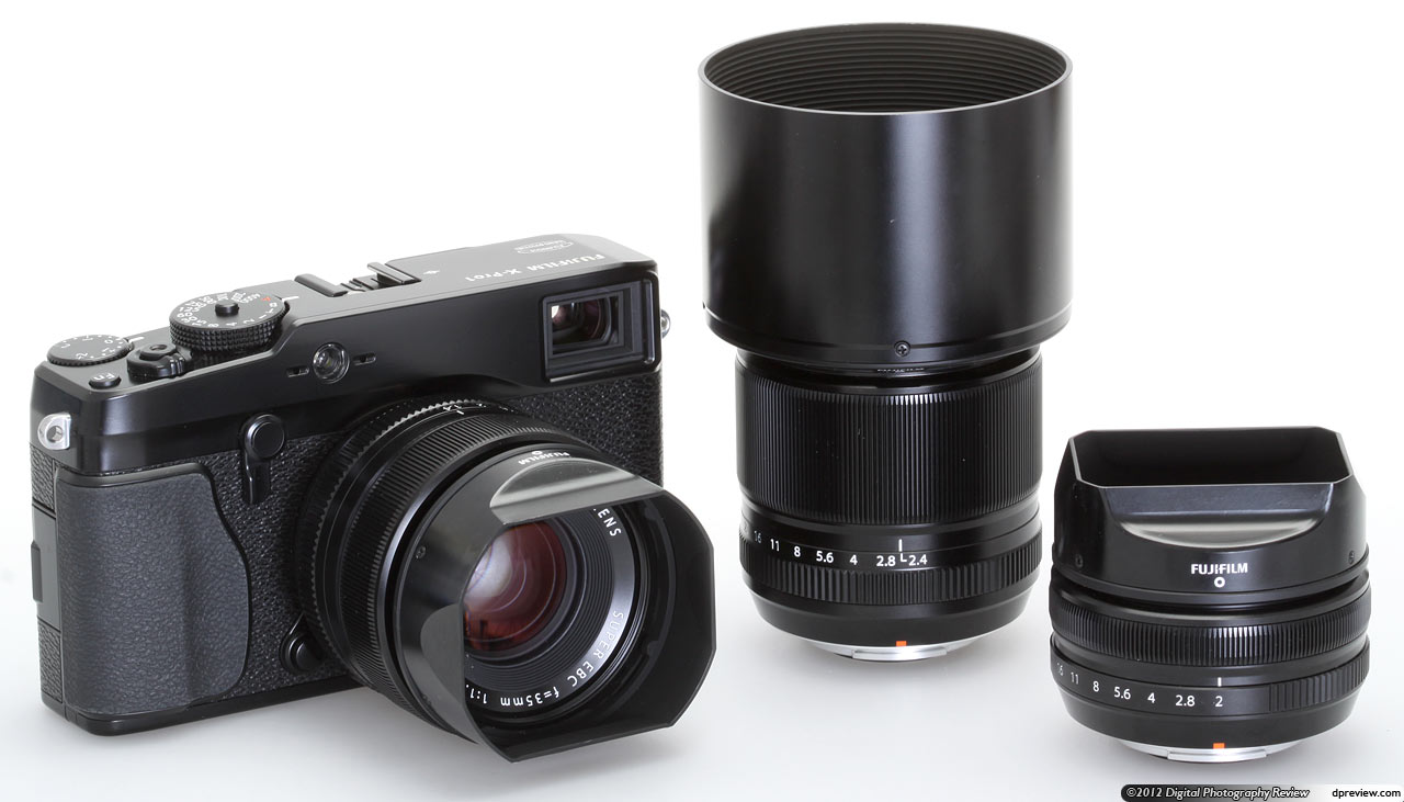 The X Pro1 With Its Initial Lens Set Hoods Attached 35mm F14 Mounted 60mm F24 Macro And 18mm F2