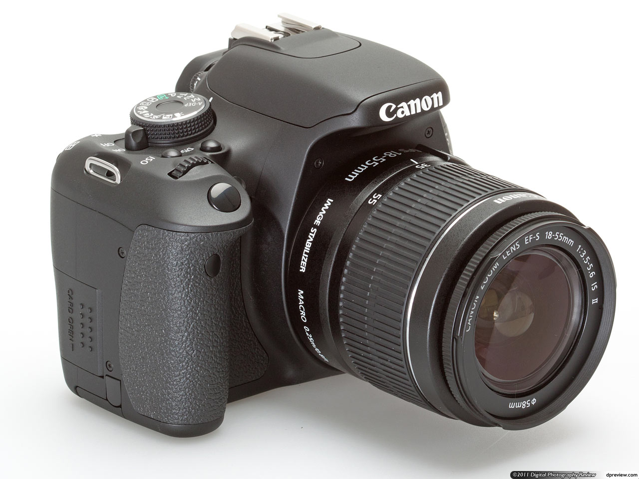 The 600D gets a 'new' kit lens, the EF-S 18-55mm F3.5-5.6 IS II. According  to Canon this is identical in specification to the previous version, and  features ...