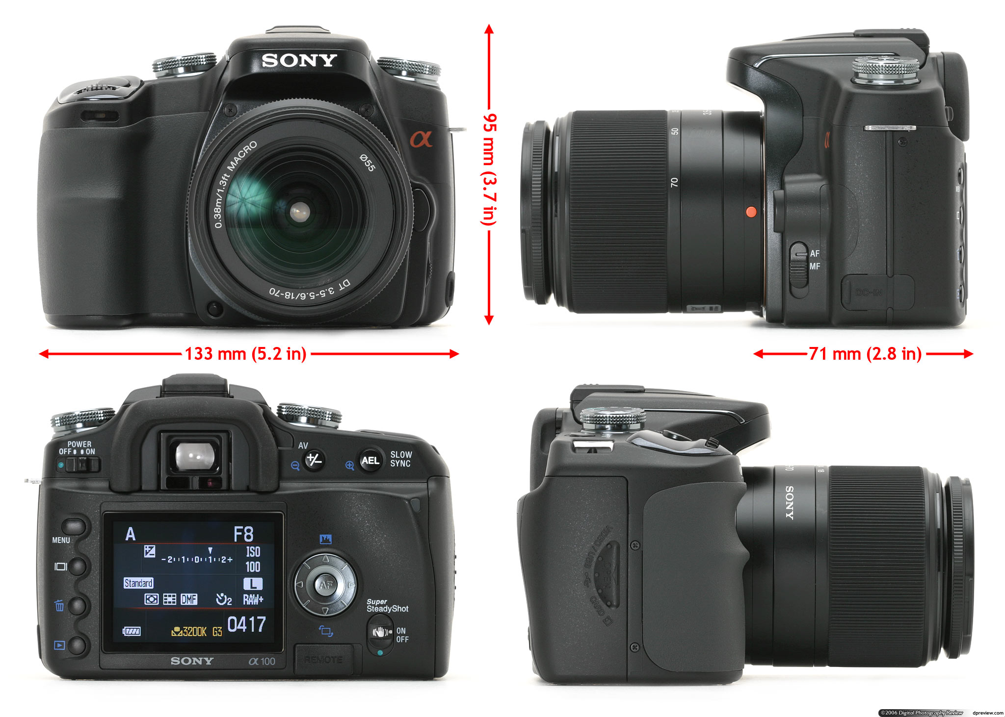 Camera Sony A100 Dslr Camera sony alpha dslr a100 review digital photography at first glance you can immediately see the konica minolta family resemblance certainly from back camera is laid out almost exactly the
