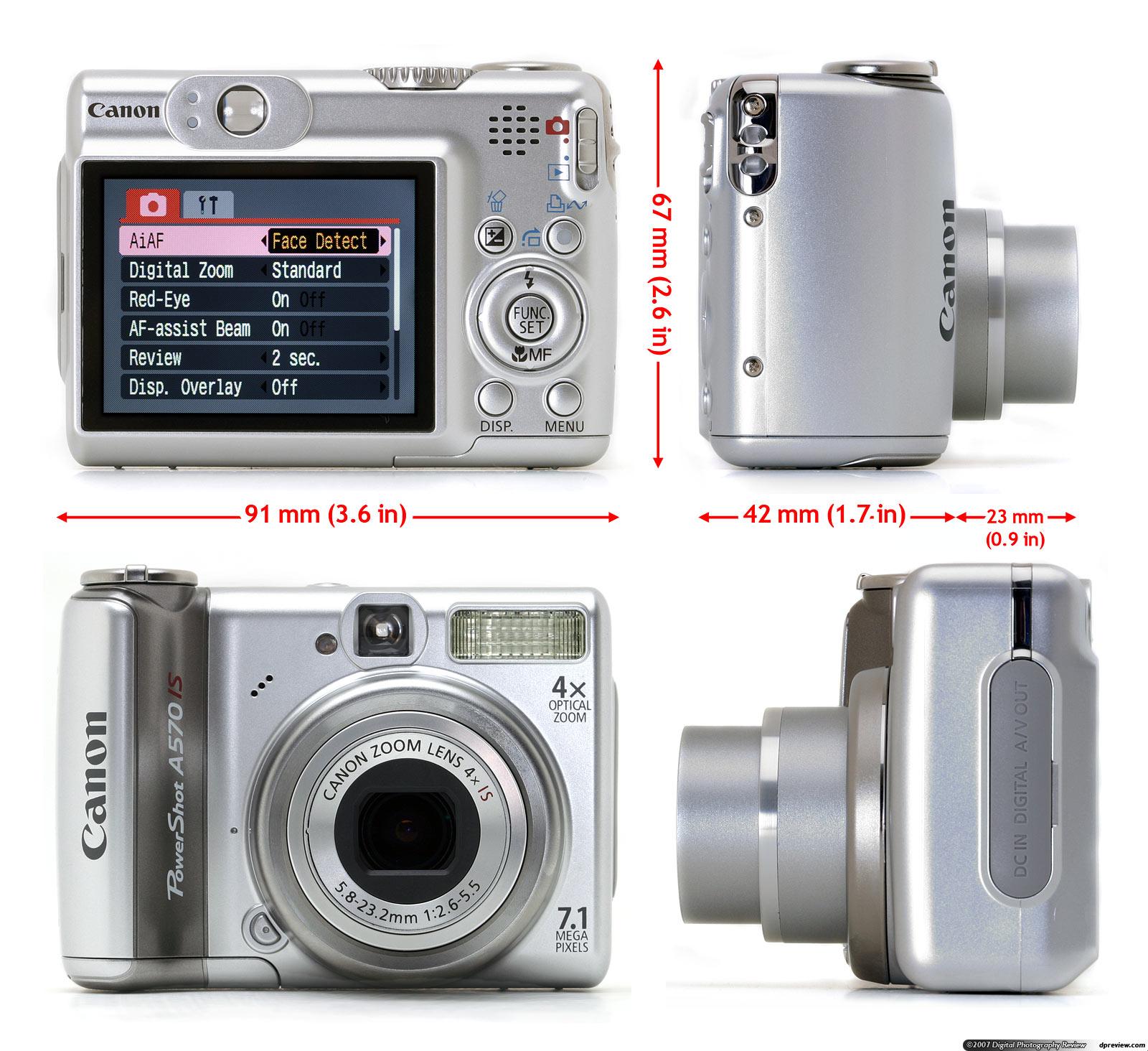 Canon PowerShot A570 IS : la fiche technique complète