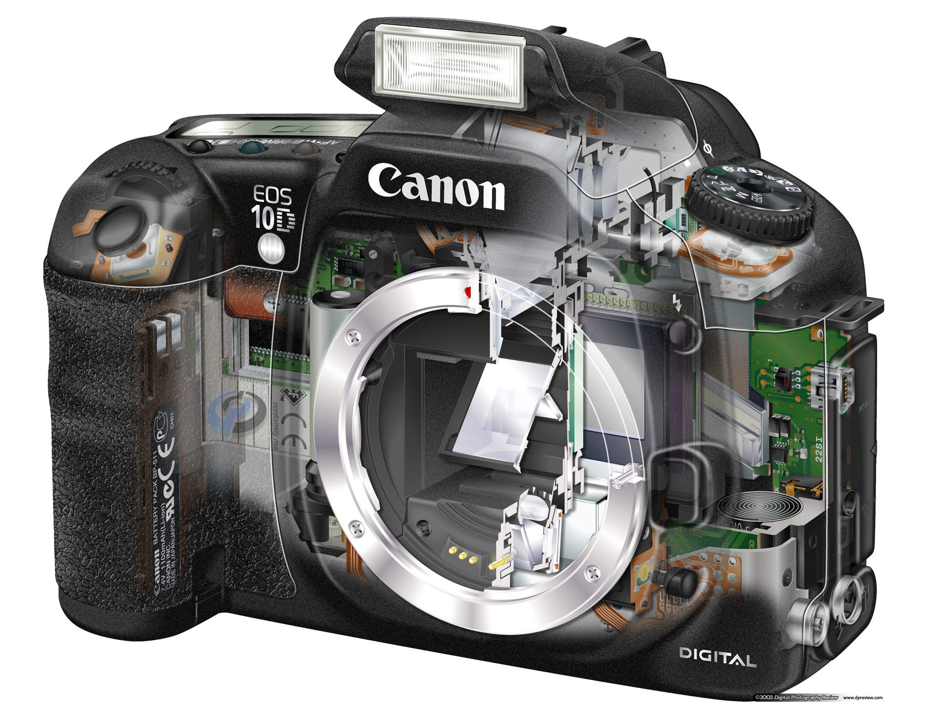 The 10D was a thoroughly modern camera in 2003 and remained on the market for some time Canon took the basic form factor of the D60 and modernized every