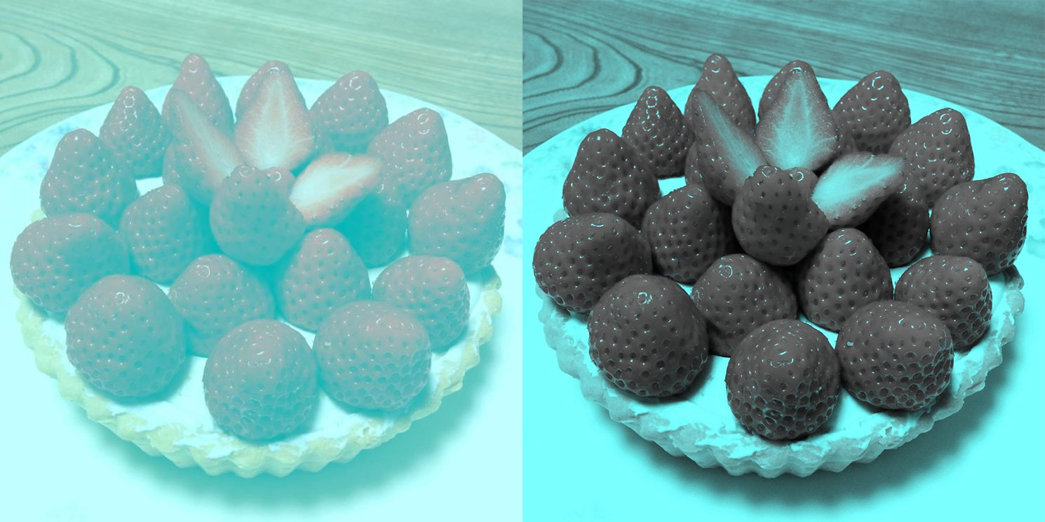 This photo of some strawberries with no red pixels is the new the
