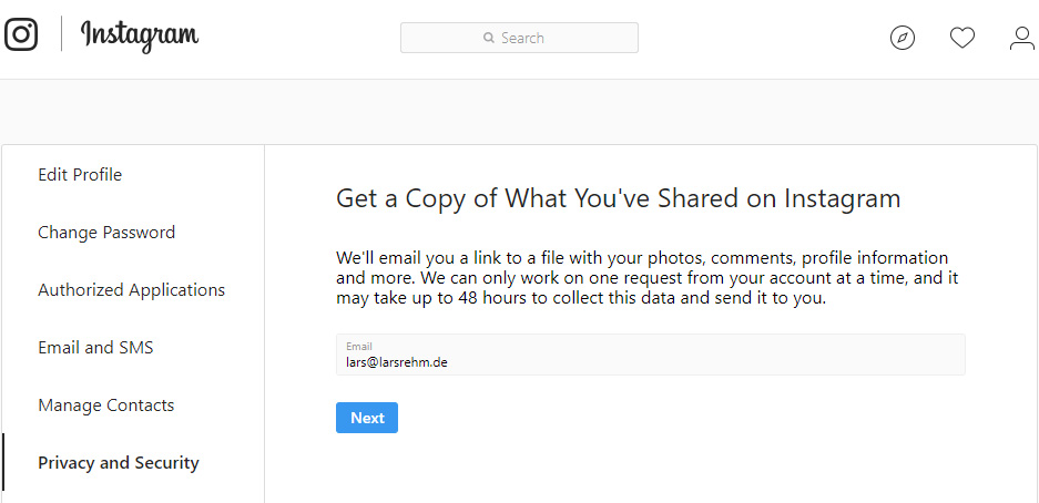 New Instagram tool lets you download a copy of all your data