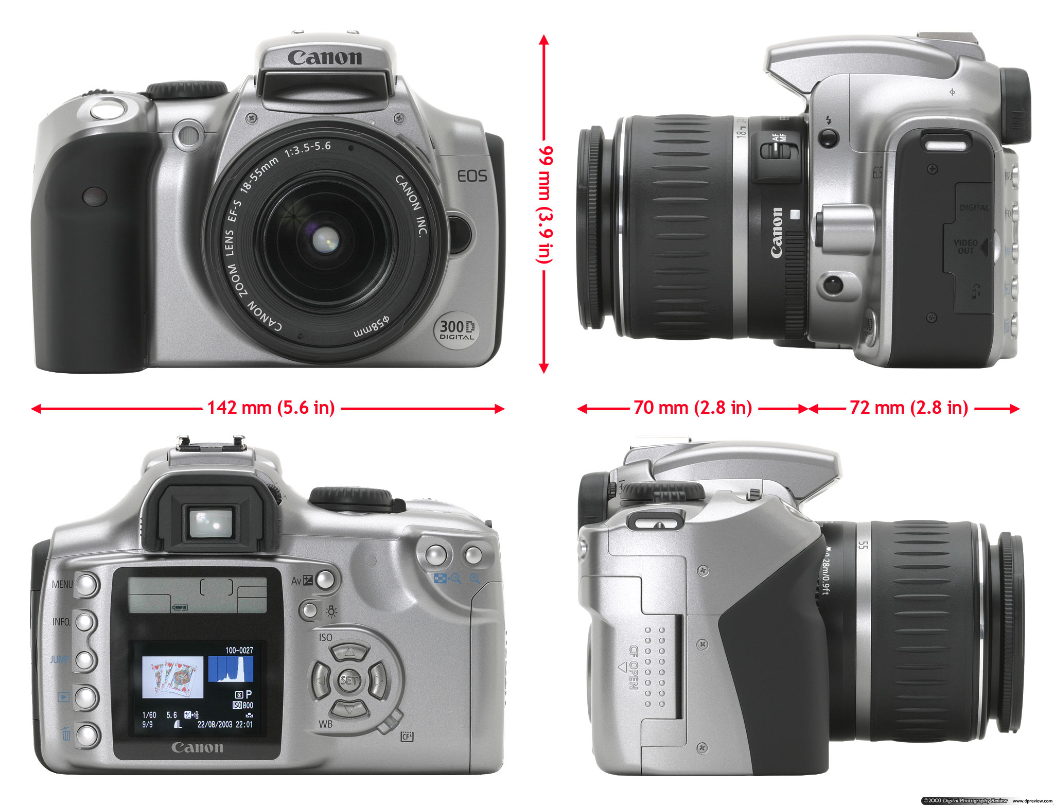 Although based on the EOS-300 film body the EOS 300D certainly isn't a  reuse of an existing body, it is a new design which appears to be a cross  between the ...